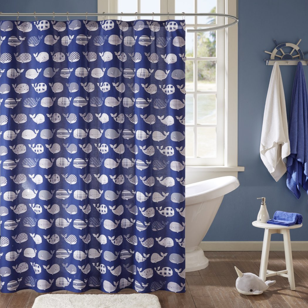 Cute Blue Whale Themed Shower Curtain Bathroom Decor Ocean Pattern Under Water Fish Fun Design Navy Color White Cotton - Diamond Home USA