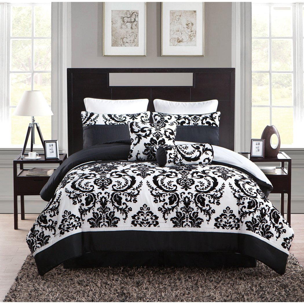 Girls Damask Theme Comforter Set Chic Floral Scroll Motif Bedding Pretty Elegant Girly Paisley Flower Scrollwork Themed Pattern
