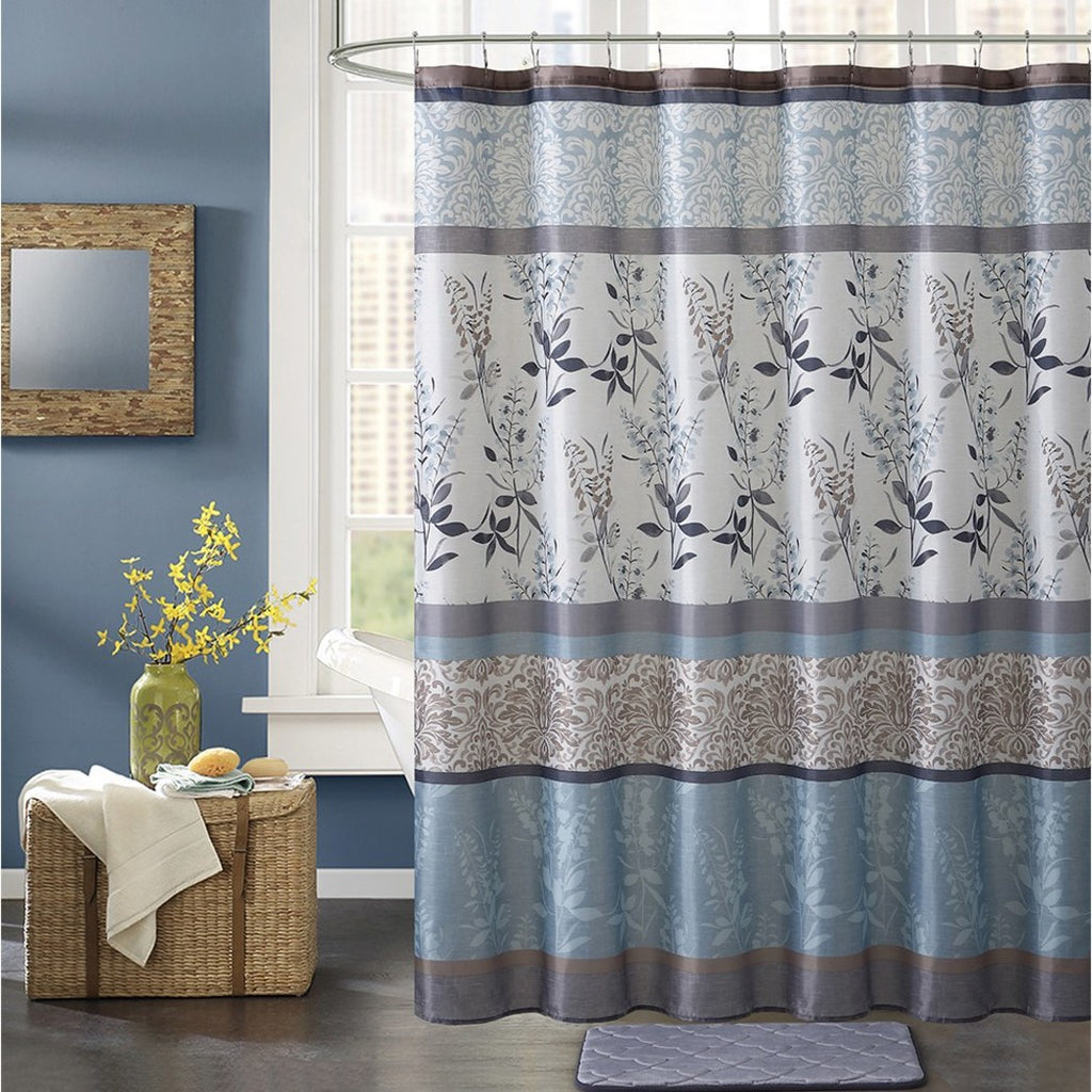 Blue Brown Grey Graphical Nature Themed Shower Curtain Polyester Lightweight Detailed Bohemian Flower Stripe Printed Abstract Floral Pattern Classic - Diamond Home USA