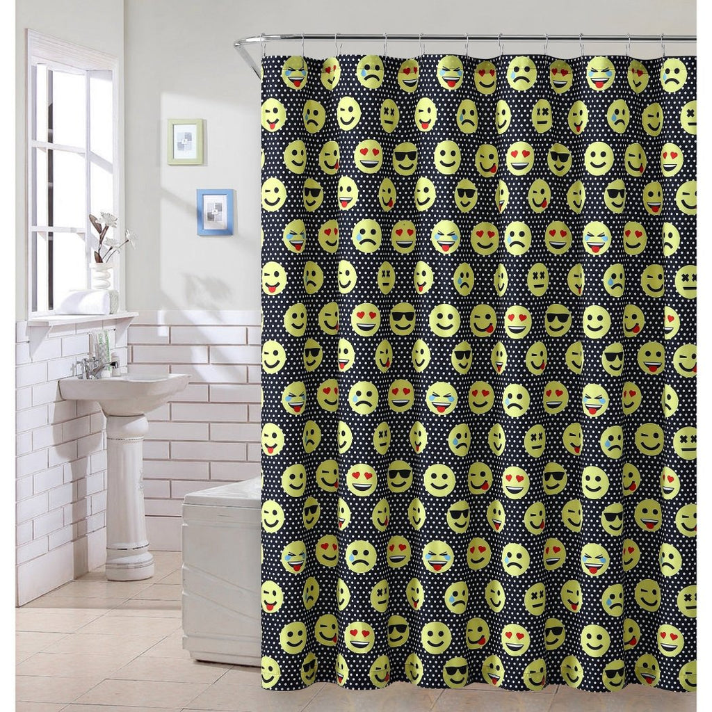 One Piece Emoticon Shower Curtain Emoji Face Black Colorful Pattern Polyester Shower Curtain - Diamond Home USA