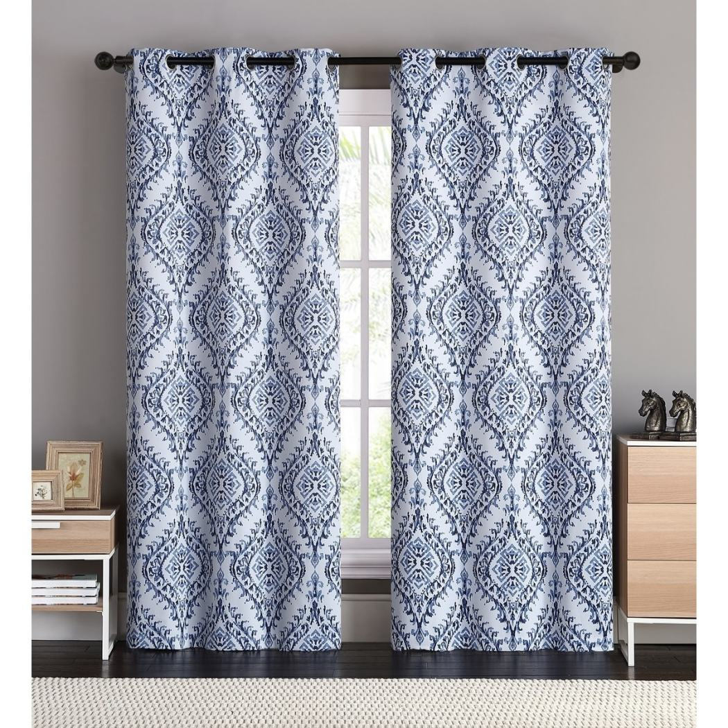 Damask Window Curtains Panel Pair Set Ikat Pattern Floral Feel Bohemian Vibrant Grommet Top Lined