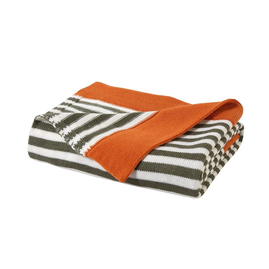 Rugby Stripes Themed Plush Throw Handmade Geometric Bold Stripe Inspired Design Sofa Blanket Coastal Pattern Bedding