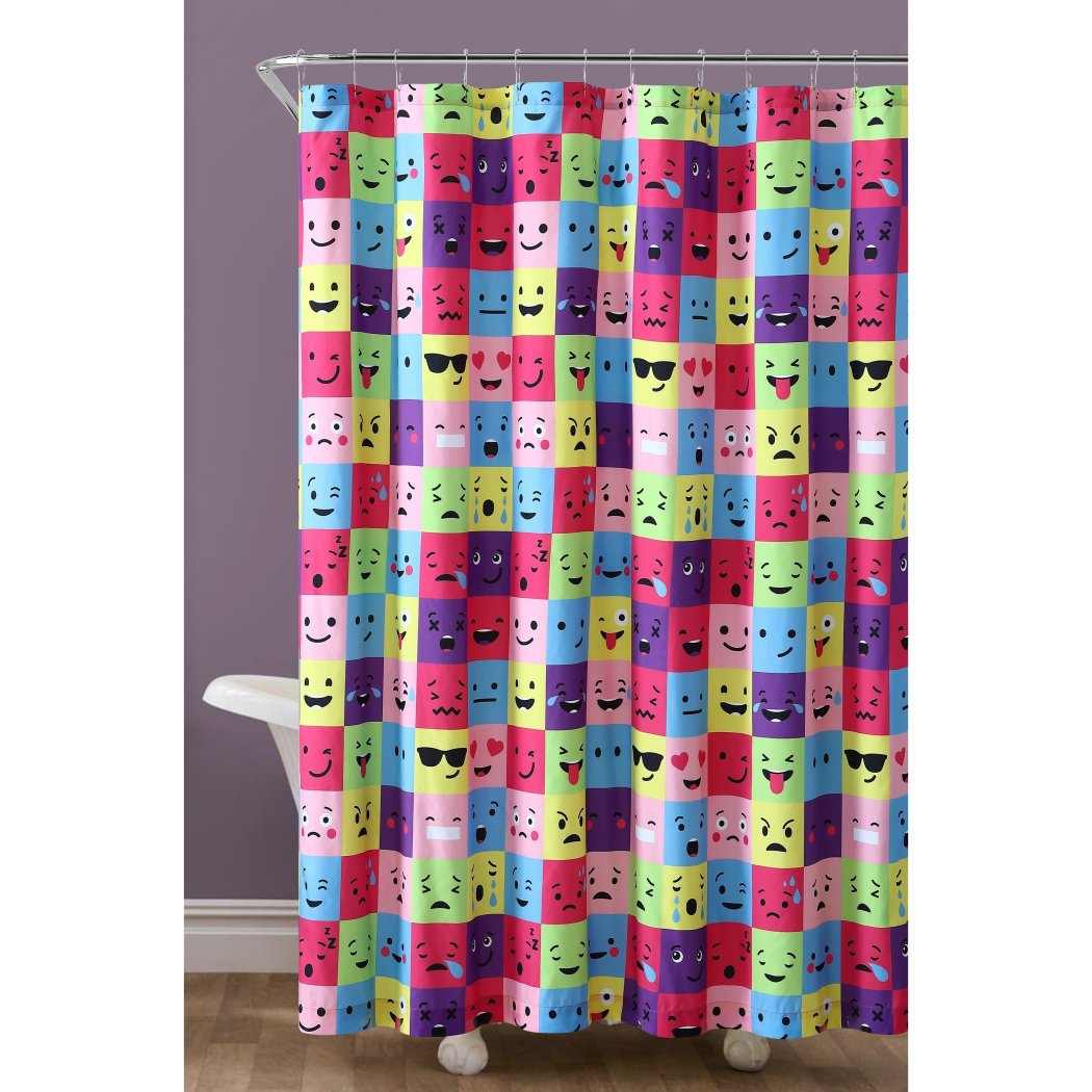 One Piece Emoticon Shower Curtain Emoji Face Rainbow Colorful Pattern Polyester Shower Curtain - Diamond Home USA