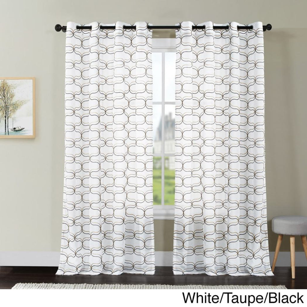 Geometric Pattern Window Curtain Single Panel Snow Embroidered Printed Window Treatment Semi Sheer Attractive Casual