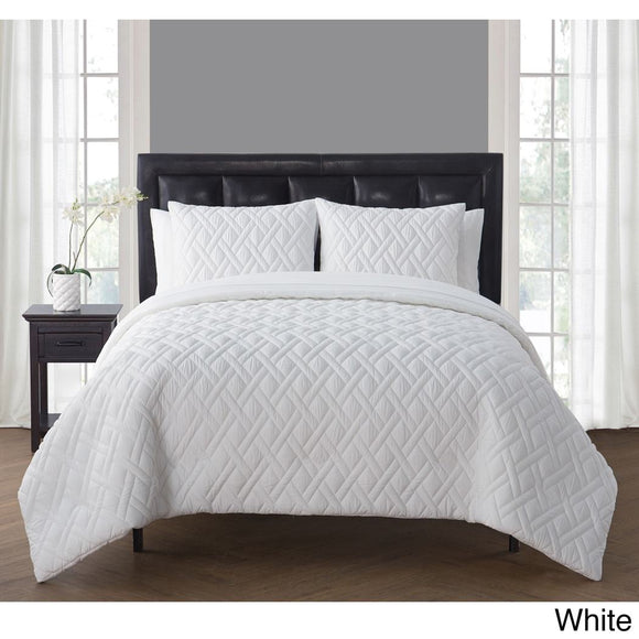 Geometric Comforter Set Solid Adult Bedding Master Bedroom Modern Stylish Lattice Pattern Textured Classic Elega Themed