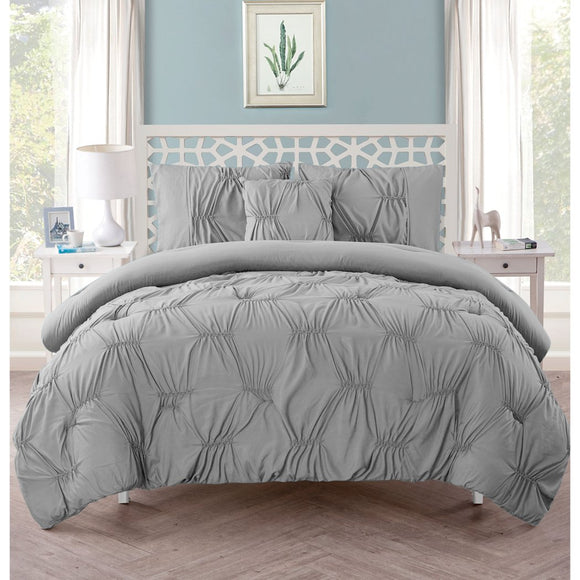 Pintuck Diamond Pattern Comforter Set Elegant Luxury Pinch Pleated Pin Tuck Textured Design Bedding Shabby Chic Casual Soft Comfy