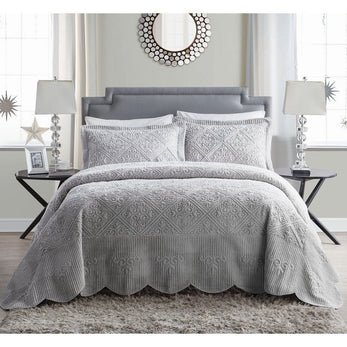 Oversized Bedspread Set Hangs Down Side Bed Large Wide Extra Long Quilted Bedding Drops Over Edge Frame French Country