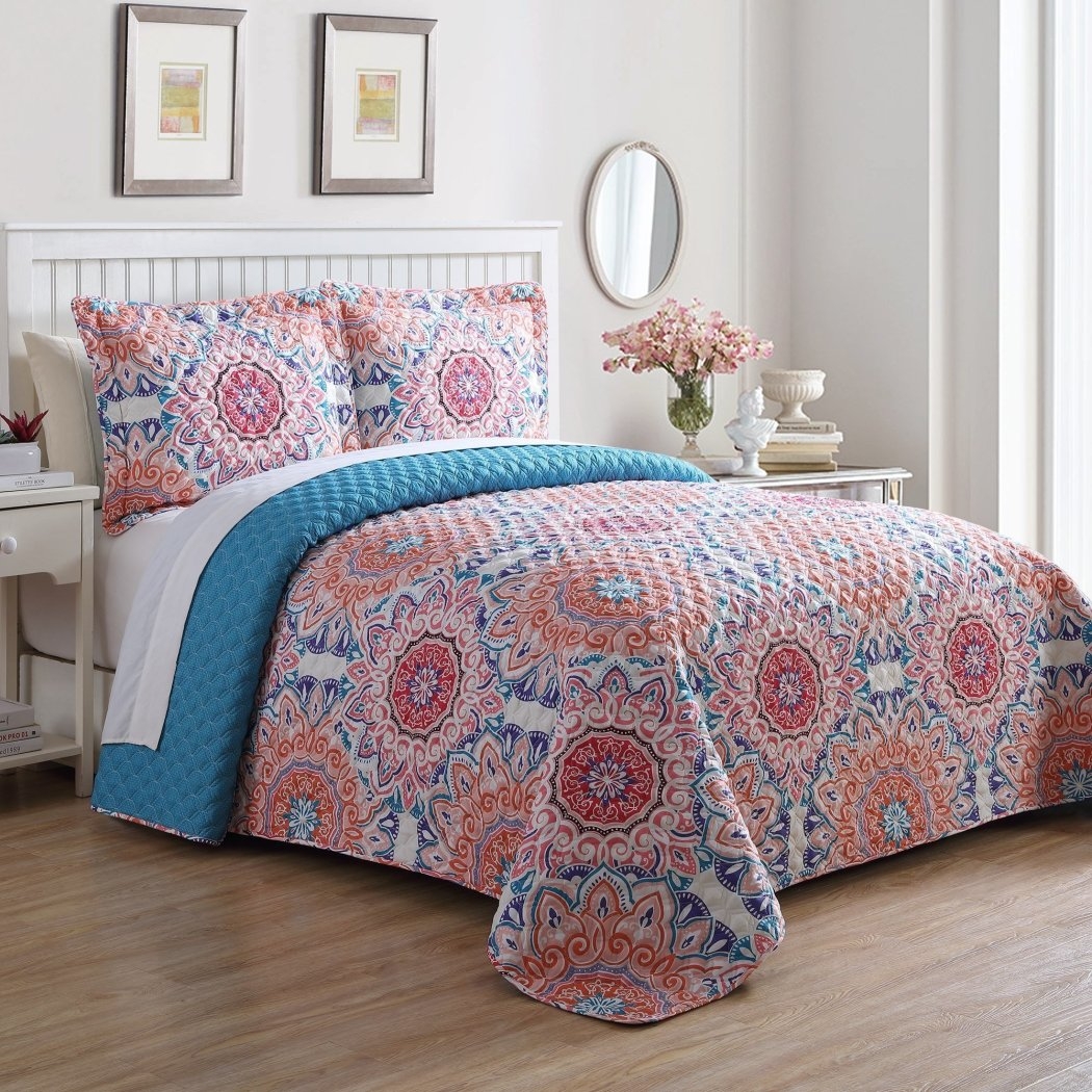 Oversized Bedspread Floor Set Extra Long Floral Medallion Bedding Extra Wide Drops Over Edge Frame Drapes Down Sides