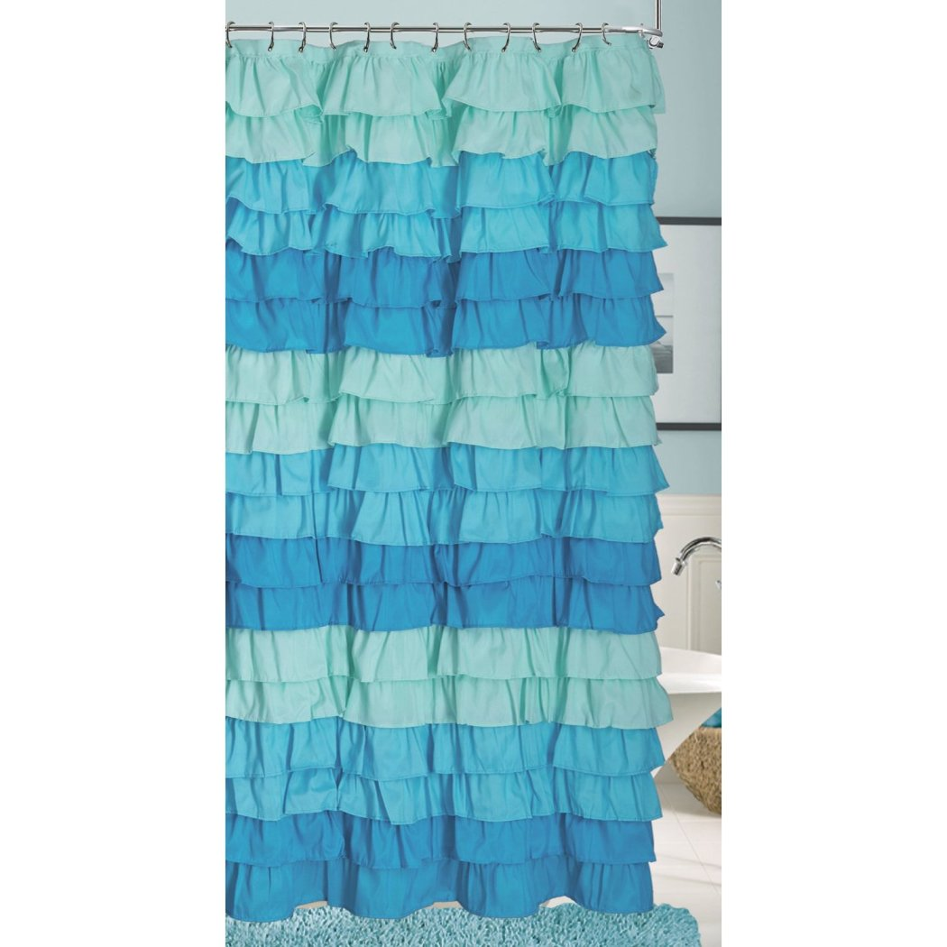 Shades Gypsy Ruffle Shower Curtain Bohemian Ruffled Pattern Layered Overlapping Ruffles Gypsies Hippie Themed Hippy Layers Textured
