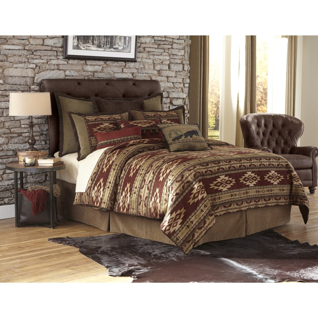 Southwestern Comforter Set Chenille Polyester Geometric Pattern Dry Clean Elegant Sophisticated Modern Master Bedrooms Red