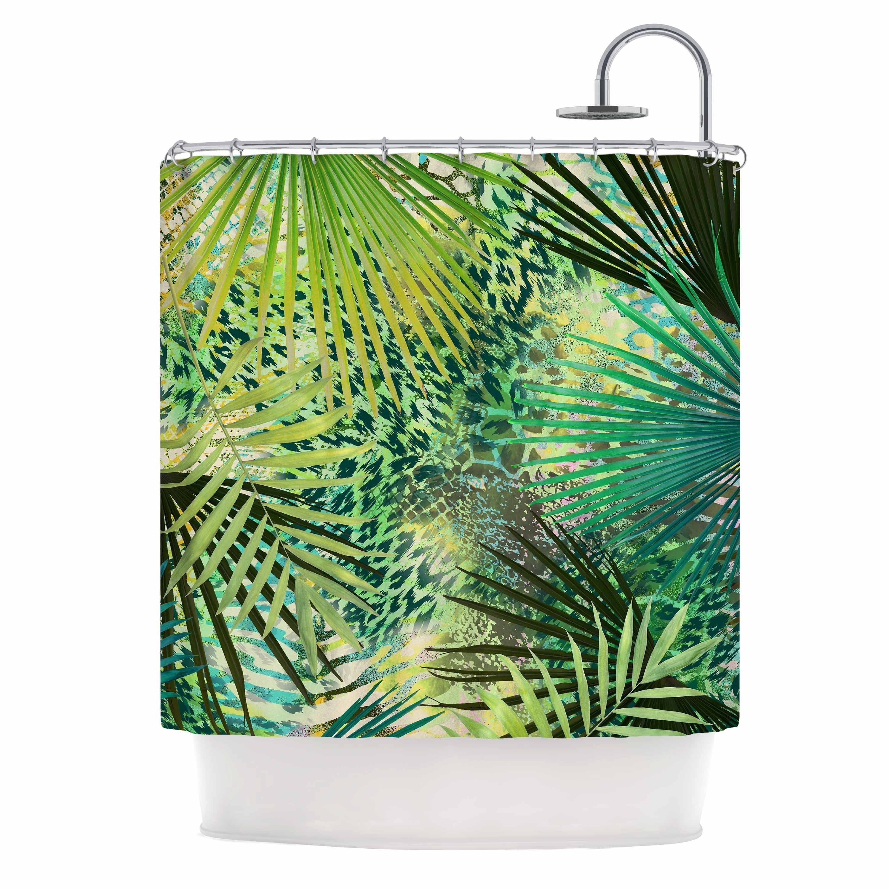 "Victoria Krupp "" Animal Jungles"" Green Teal Digital Shower Curtain Polyester - Diamond Home USA"