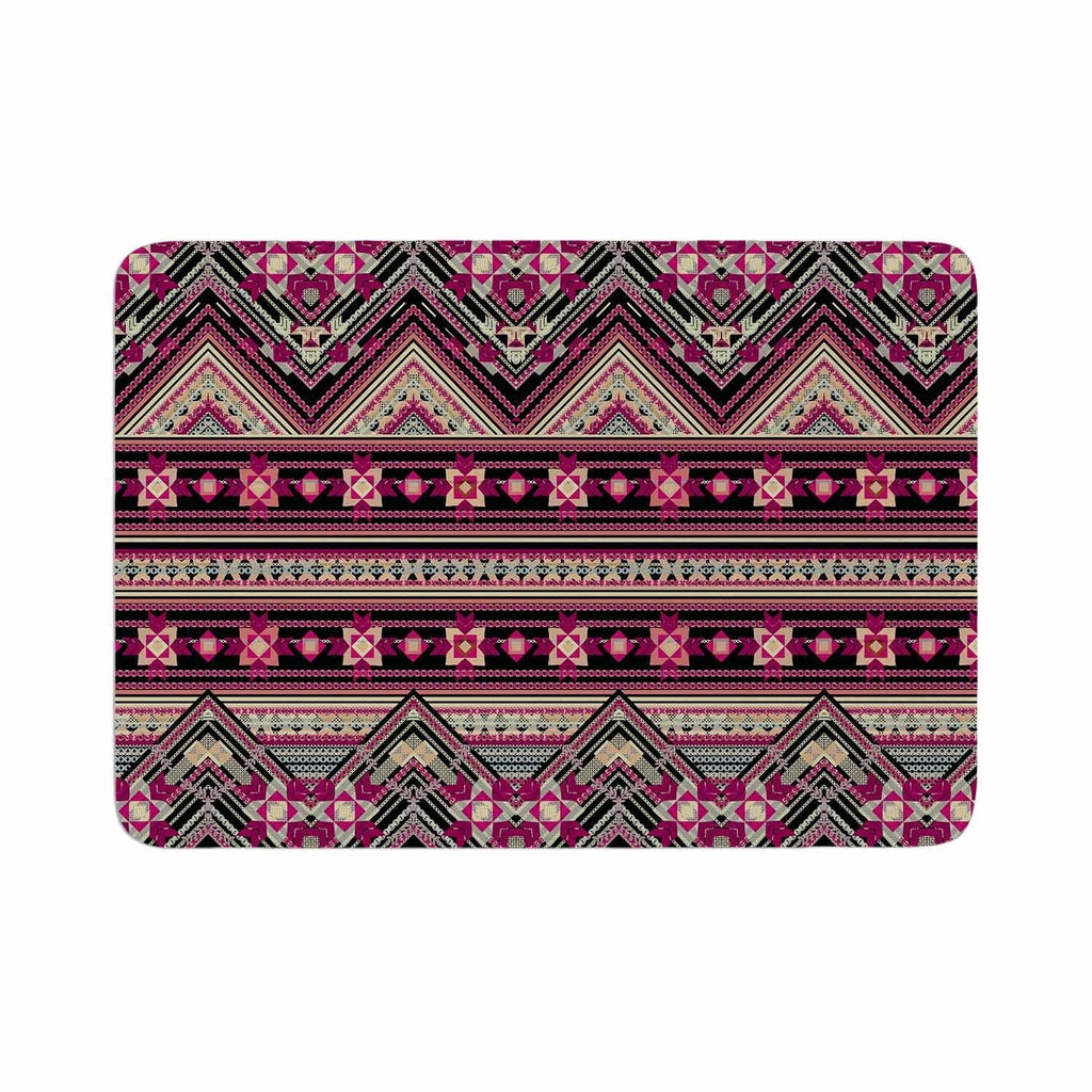 "Victoria Krupp ""Cross Stitched Boho"" Memory Foam Bath Mat Brown Single Piece - Diamond Home USA"