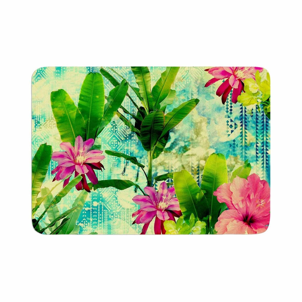 "Victoria Krupp ""Tropical Lagoon"" Memory Foam Bath Mat Green Single Piece - Diamond Home USA"