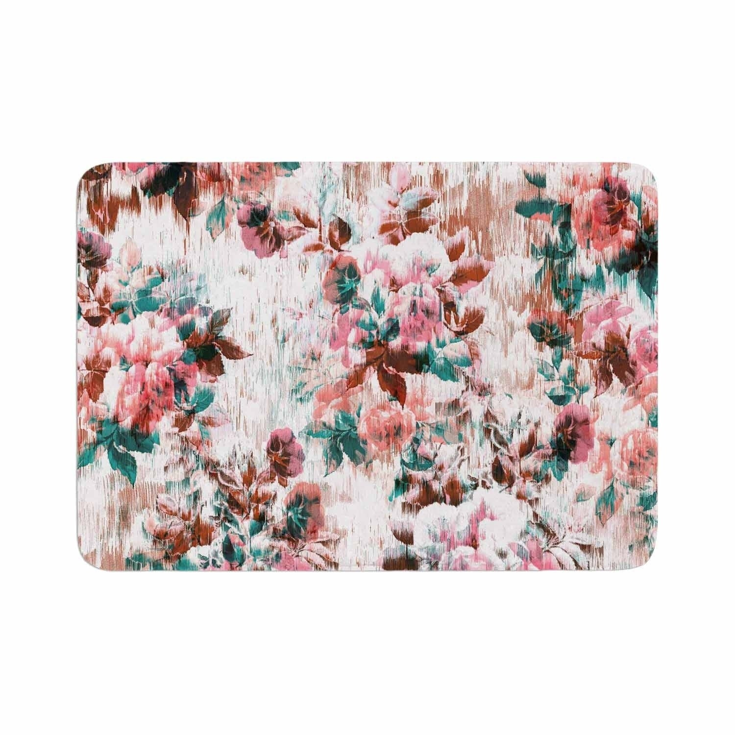 "Victoria Krupp ""Washed Flowers"" Memory Foam Bath Mat Pink Single Piece - Diamond Home USA"