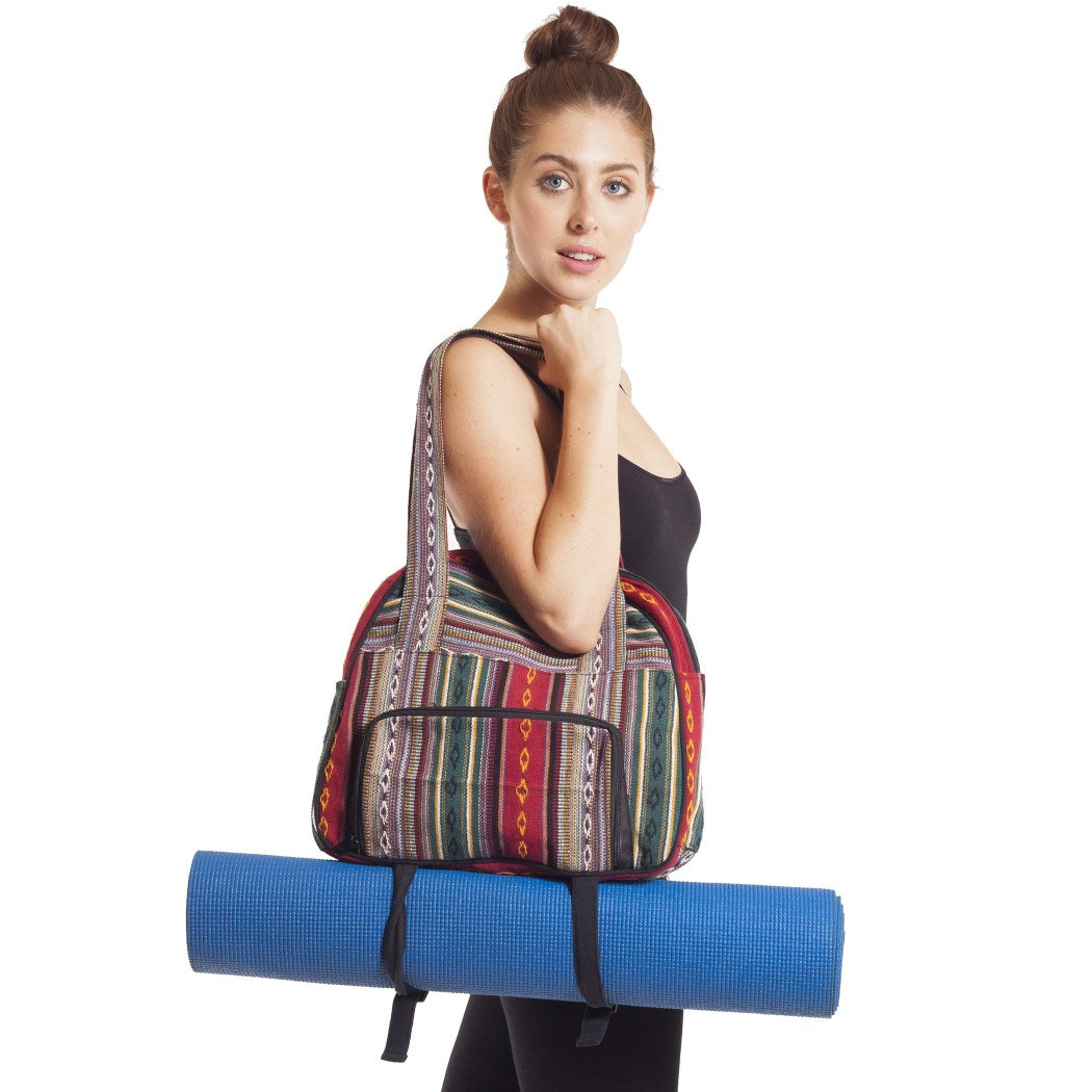 Green Gym Bag Yoga Mat Holder Zipper Pocket Two Side Pockets Stylishly Stroll Cotton Canvas Cotton Lining Flap Hook Loop Adjustable Strap Color Red - Diamond Home USA