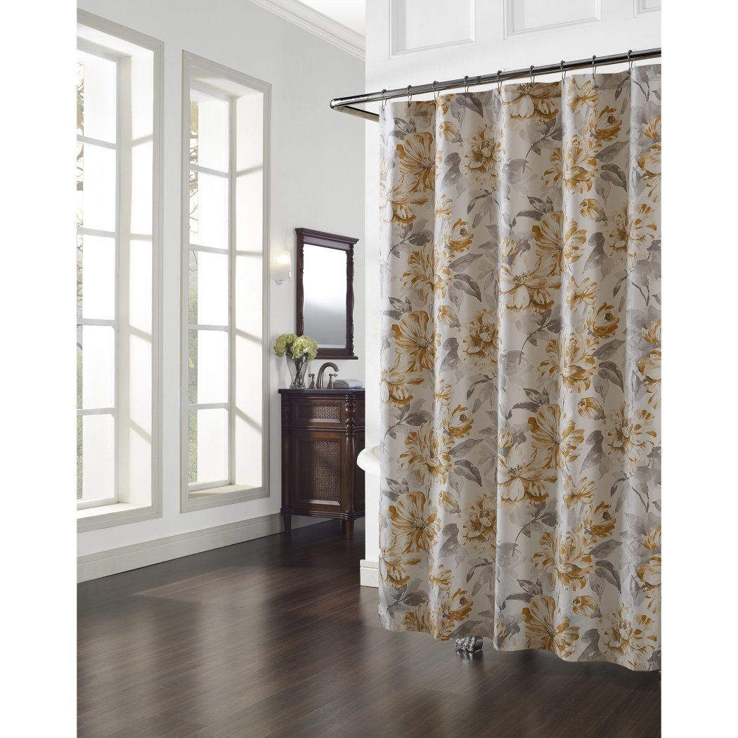 Gold Grey Graphical Nature Themed Shower Curtain Cotton Lightweight Detailed Flower Printed Abstract Floral Pattern Classic Elegant Design Rich - Diamond Home USA