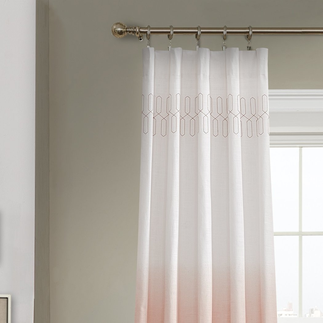 Girls Ombre Embroidered Curtain Single Panel Window Drapes Kids Themed Rod Pocket Playful Chic Stylish Luxurious