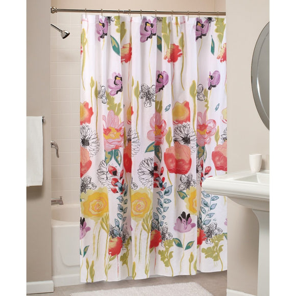 Girls Red Pink Yellow Floral Pattern Shower Curtain Polyester Detailed Multicolored Flowers Printed Indie Hippie Classic Elegant Design All Seasons - Diamond Home USA