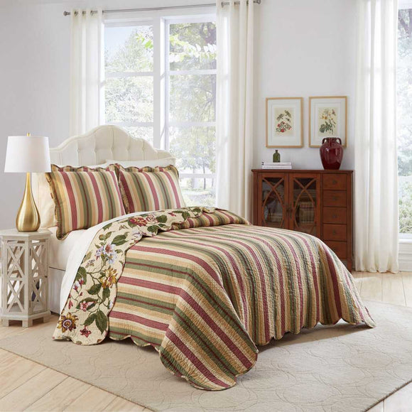 Leafy Floral Stripes Oversized Bedspread Floor Set Butterflies Extra Long Bedding Drapes Down Sides Cotton