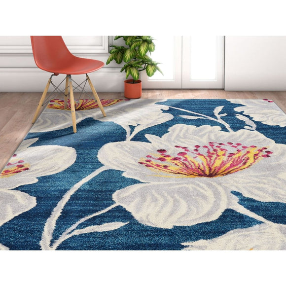 LV 3'3 x 4'7 Blue Purple Yellow Ivory Grey Modern Floral Flowers Area Rug Rectangle Indoor Vintage Wildlife Flowers Carpet Mat Leaves Petals - Diamond Home USA