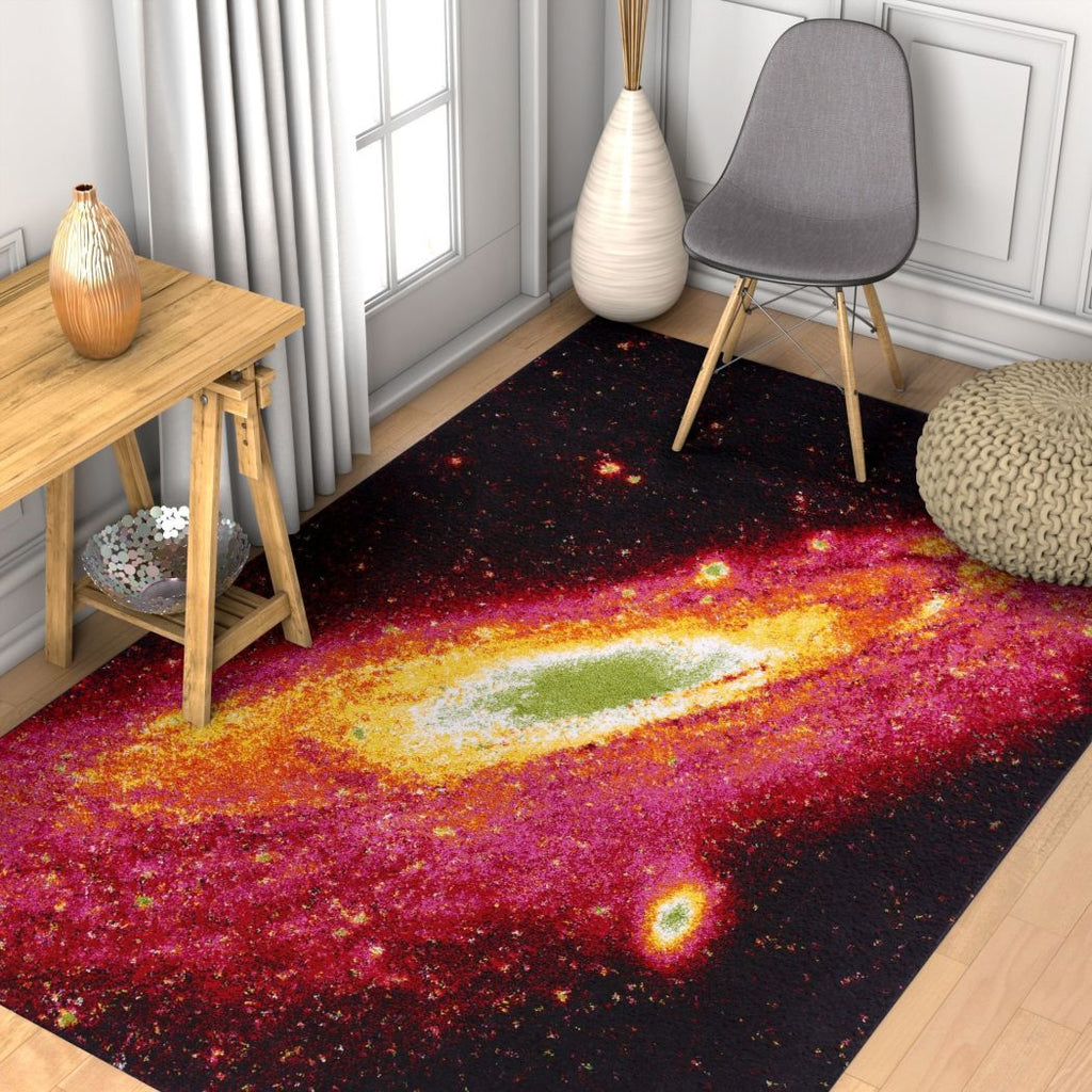 5' x 7' Kids Black Red Green Purple Yellow Abstract Universe Space Orbit Area Rug Rectangle Indoor Modern Rainbow Vibrant Galaxy Carpet Mat Geometric - Diamond Home USA