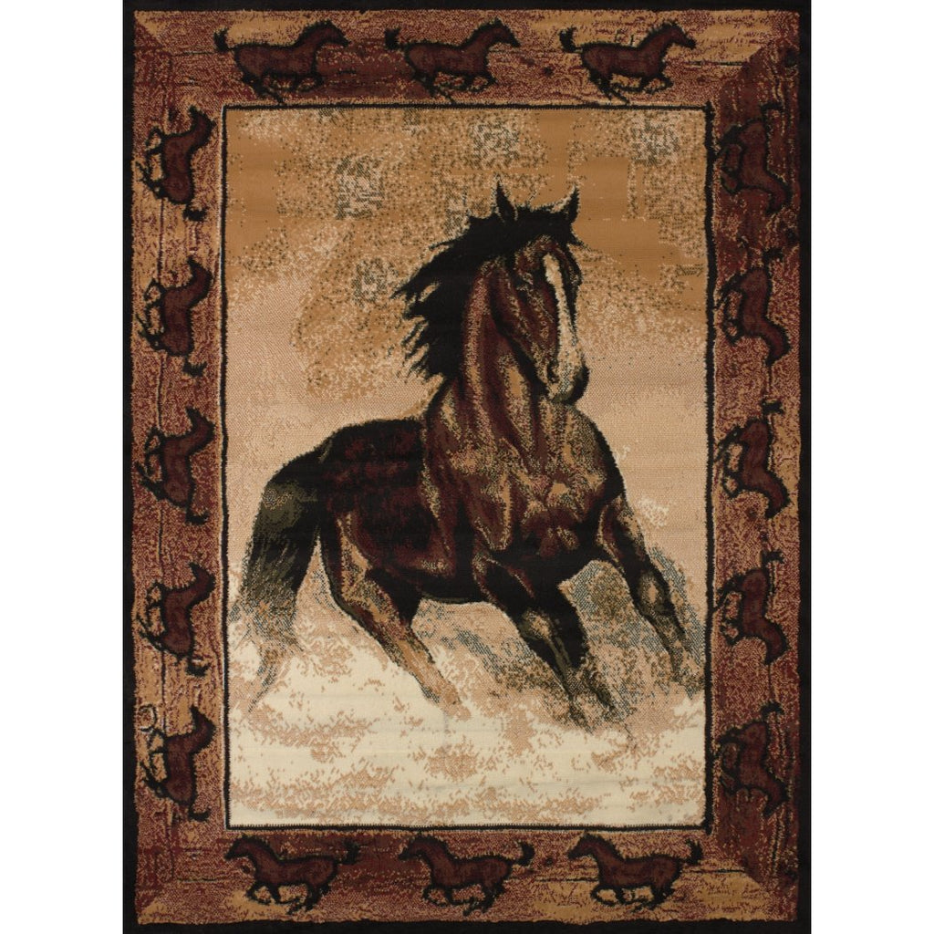 5'3 x 7'2 Brown Beige Tan Wildlife Southwestern Stallion Horses Area Rug Rectangle Indoor Western Lodge Horse border Carpet Mat Animal - Diamond Home USA