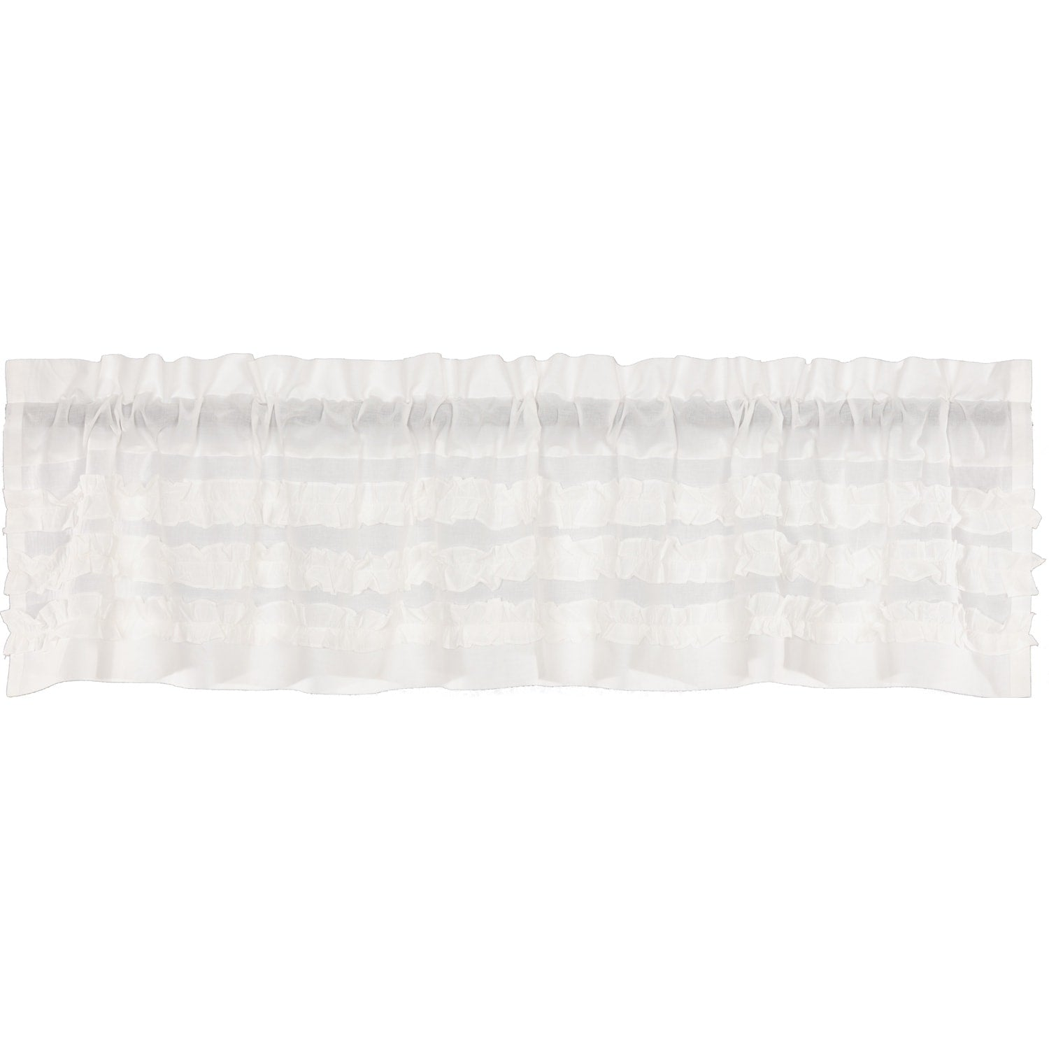 White Farmhouse Kitchen Curtains Vhc Ruffled Sheer Petticoat Valance Rod Pocket Cotton Solid Color Ruched Ruffle 100% - Diamond Home USA