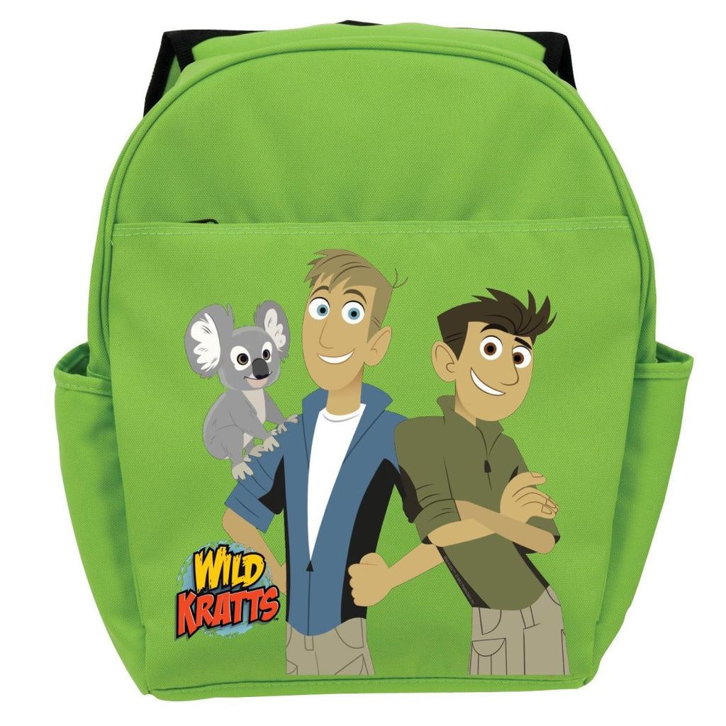 "Green Wild Kratts Koala & Kratt Brothers Kids Backpack 19"" Character Polyester - Diamond Home USA"