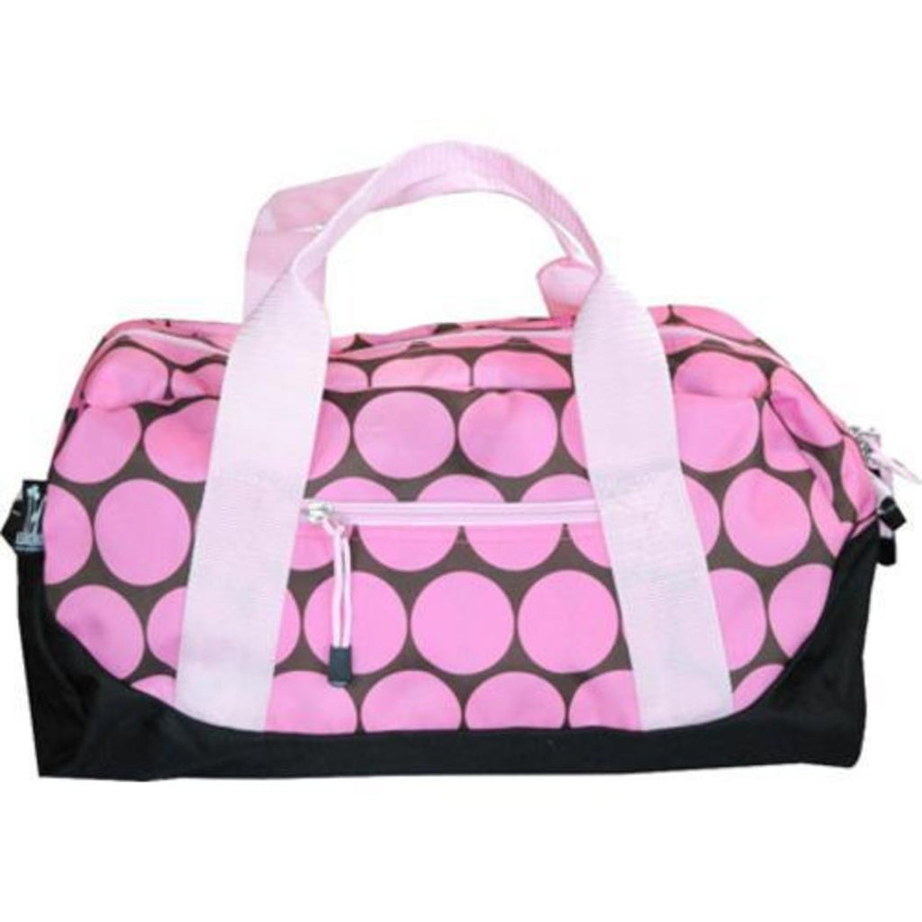 Kids Pink Polka Dot Duffle Bag Geometric Polka Dot Pattern Polyester Durable Exterior Compartment Feature Detachable Shoulder Strap Light White Black - Diamond Home USA