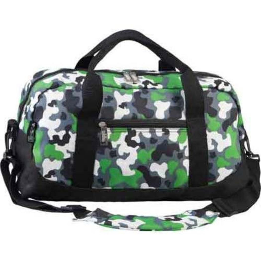 Camouflage Green Kids' Duffel Bag 18 Inch Polyester Compartment - Diamond Home USA