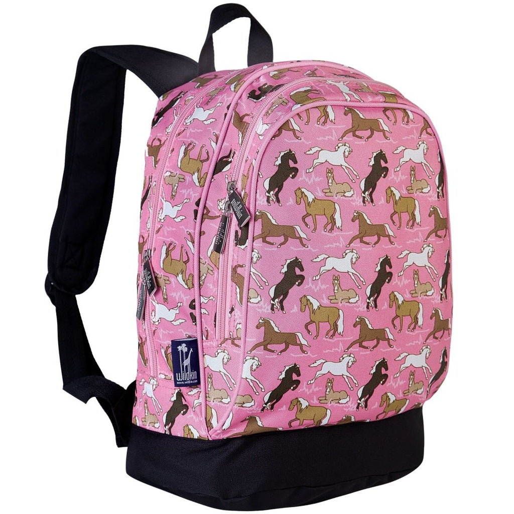 Girls Pretty Purple Pony Themed Backpack Kids Ponies Horses Cute School Bag - Diamond Home USA
