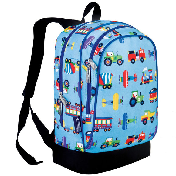 Kids Blue Vehicle Backpack Train Air Planes Tractor Red Firetruck Blue Purple Trains Yellow School Bag Strap Back Polyester - Diamond Home USA