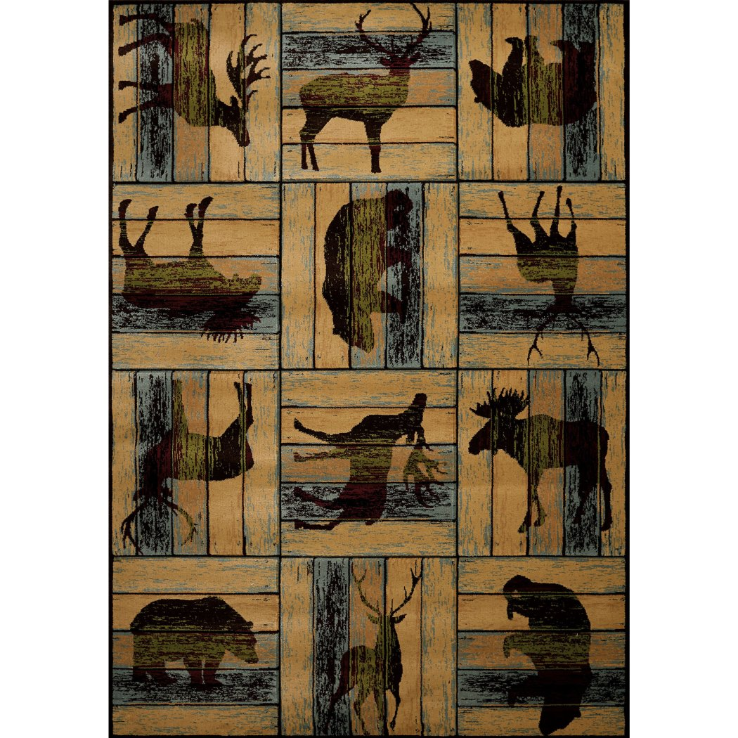 5'3x7'6 Brown Blue Black Southwest Moose Area Rug Rectangle Shaped Indoor Beige Cabin Deer Bear Carpet Living Room Lodge Wildlife Nature Wilderness - Diamond Home USA