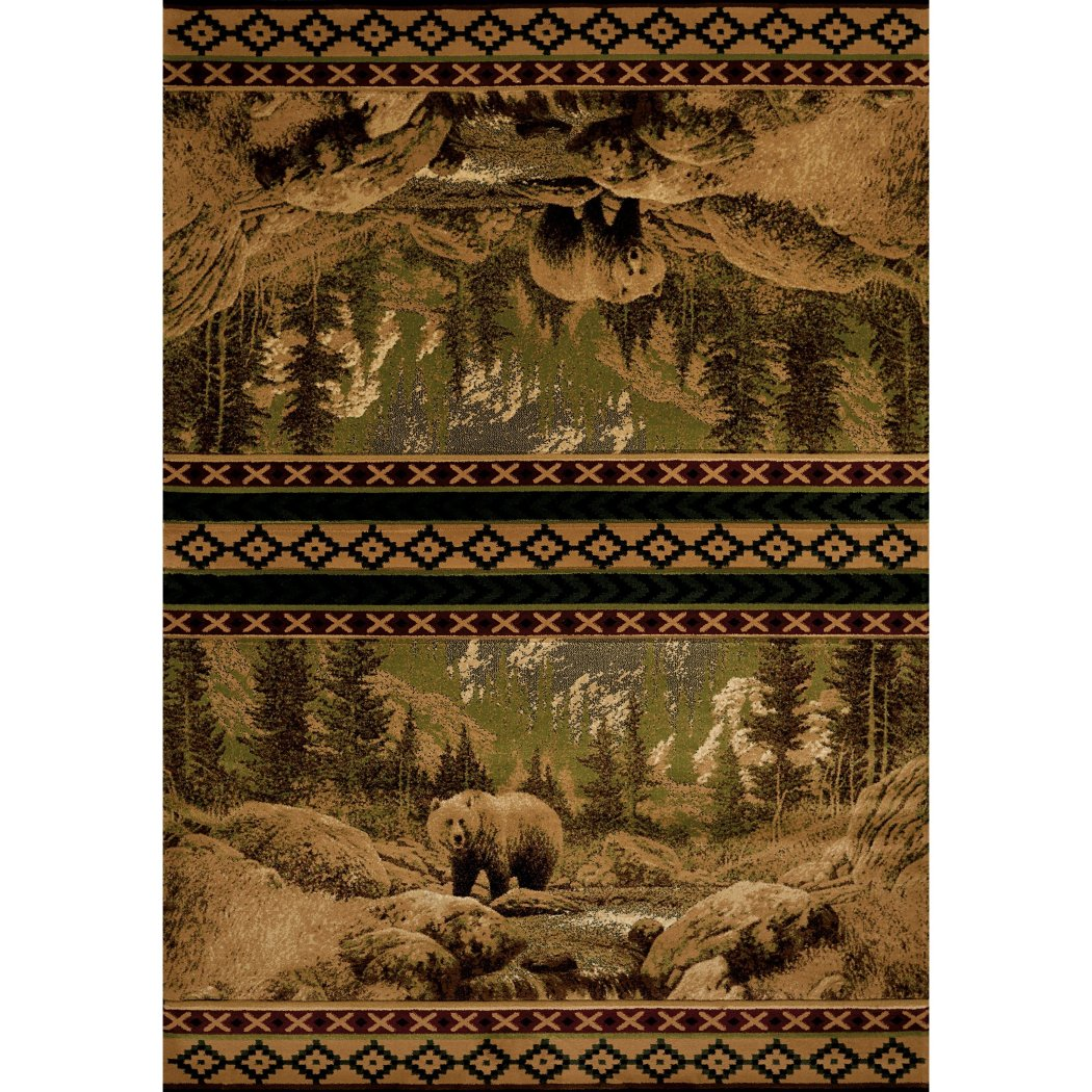 1'10x3' Beige Brown Green Bear Wildlife Printed Accent Rug Indoor Animal Pattern Living Room Rectangle Carpet Southwest Cabin Themed Soft Synthetic - Diamond Home USA