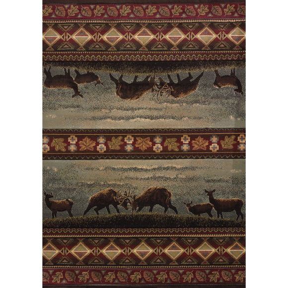 1'10x3' Brown Grey Deer American Bucks Wildlife Printed Accent Rug Indoor Animal Pattern Living Room Rectangle Carpet Southwest Cabin Themed Synthetic - Diamond Home USA