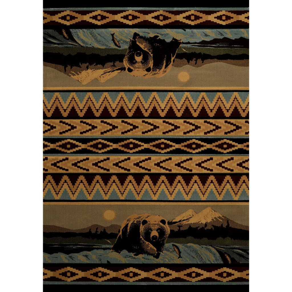 1'10x3' Beige Light Blue Brown Bear Stripe Wildlife Printed Accent Rug Indoor Animal Pattern Living Room Rectangle Carpet Southwest Cabin Themed - Diamond Home USA