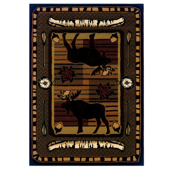 1'10x3' Brown Olive Moose Canoe Wildlife Printed Accent Rug Indoor Animal Pattern Living Room Rectangle Carpet Southwest Cabin Themed Soft Synthetic - Diamond Home USA