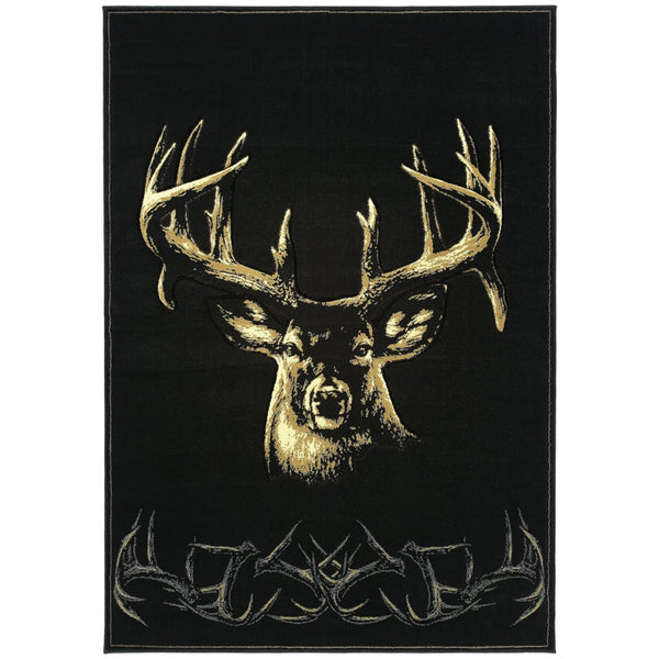1'10x3' Beige Black Gold Antler Deer Wildlife Printed Accent Rug Indoor Animal Pattern Living Room Rectangle Carpet Southwest Cabin Themed Soft - Diamond Home USA