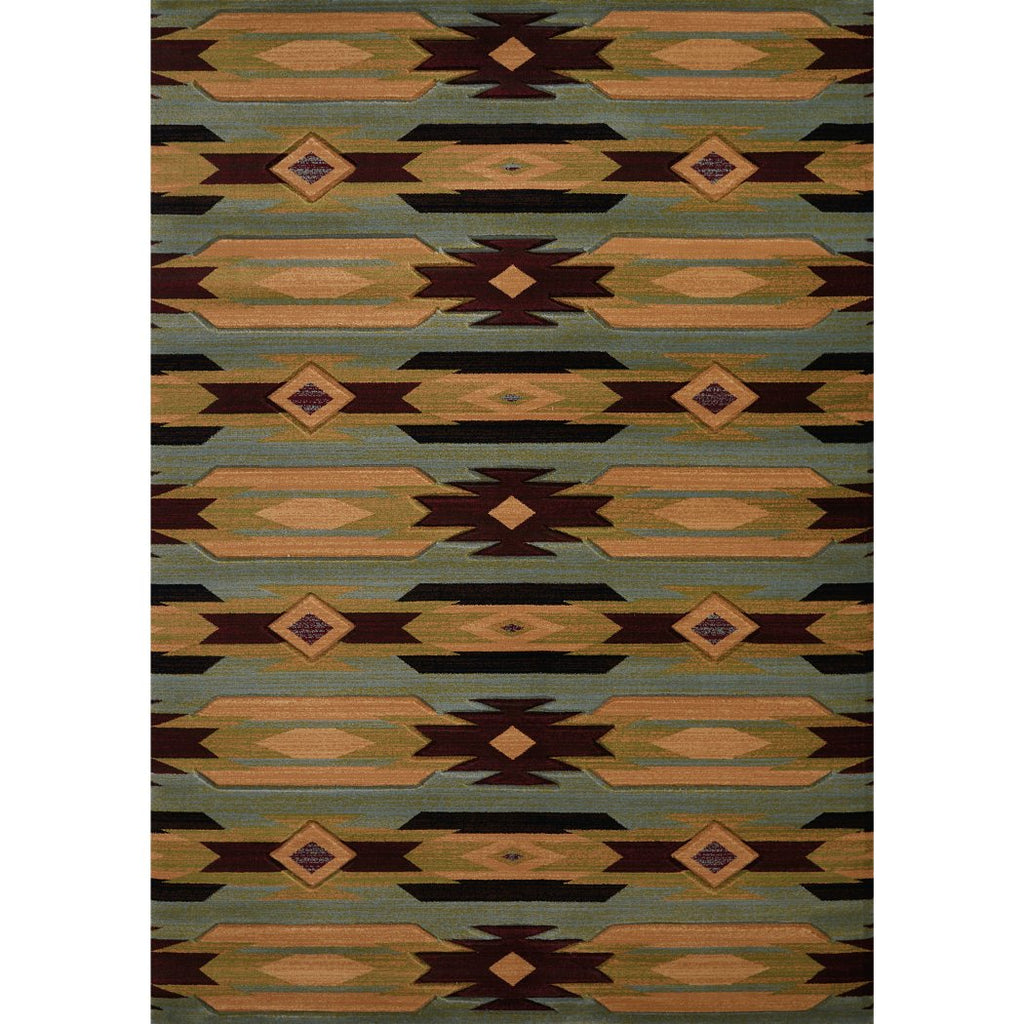 5'3x7'6 Blue Yellow Brown Southwestern Star Area Rug Rectangle Shaped Indoor Red Rustic Cabin Carpet Living Room Lodge Nature Native Tribal Southern - Diamond Home USA