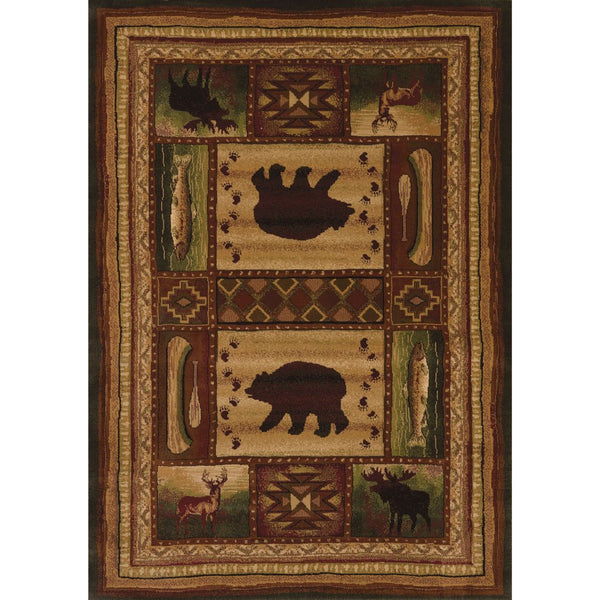 1'10x3' Beige Brown Deer Bear Fish Canoe Wildlife Printed Accent Rug Indoor Animal Pattern Living Room Rectangle Carpet Southwest Cabin Themed - Diamond Home USA