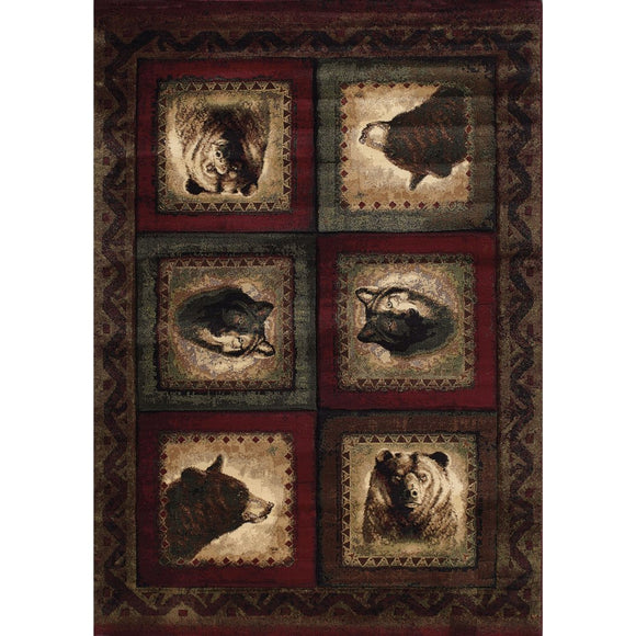 1'10x3' Beige Burgundy Olive Wolf Bear Wildlife Printed Accent Rug Indoor Animal Pattern Living Room Rectangle Carpet Southwest Cabin Themed Synthetic - Diamond Home USA