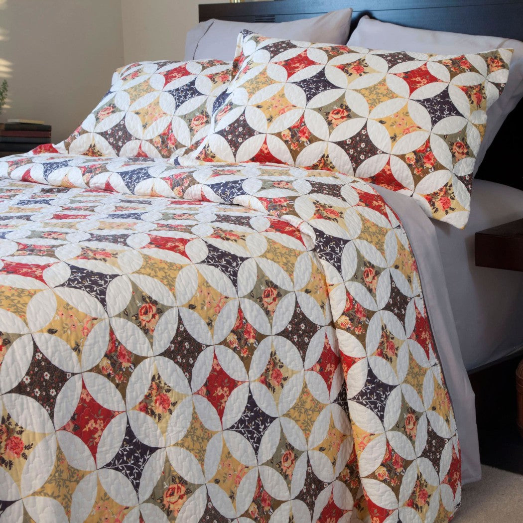 Trendy Quilt Set Diamond Floral Themed Bedding Rainbow Modern Cabin Flower Nature Geometric Pretty Chic Pretty