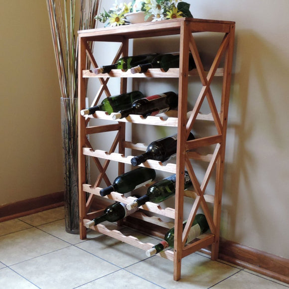 25 Bottle Wine Racks Free Standing Floor Unit Table Top Serving Storage Space Below Vertical Rustic Wood Wine Rack Is Modern Stylish Classic Rustic - Diamond Home USA