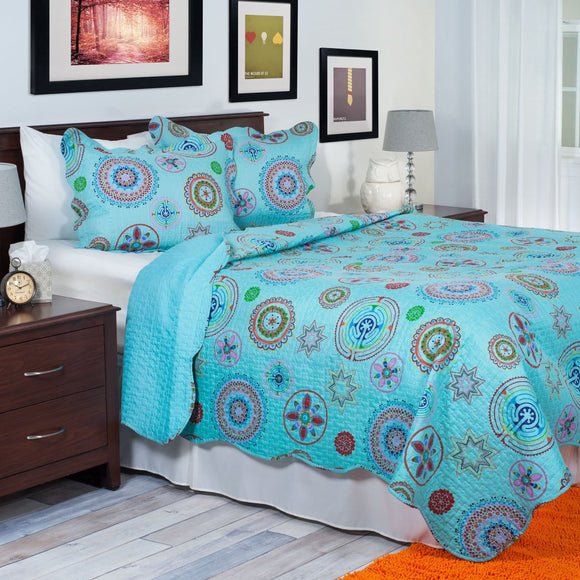 Girls Aqua Blue Medallion Theme Quilt Twin Vibrant Fun Geometric Floral Motif Bedding Bright Girly Color Flower Mandala Themed Pattern Turquoise Teal - Diamond Home USA