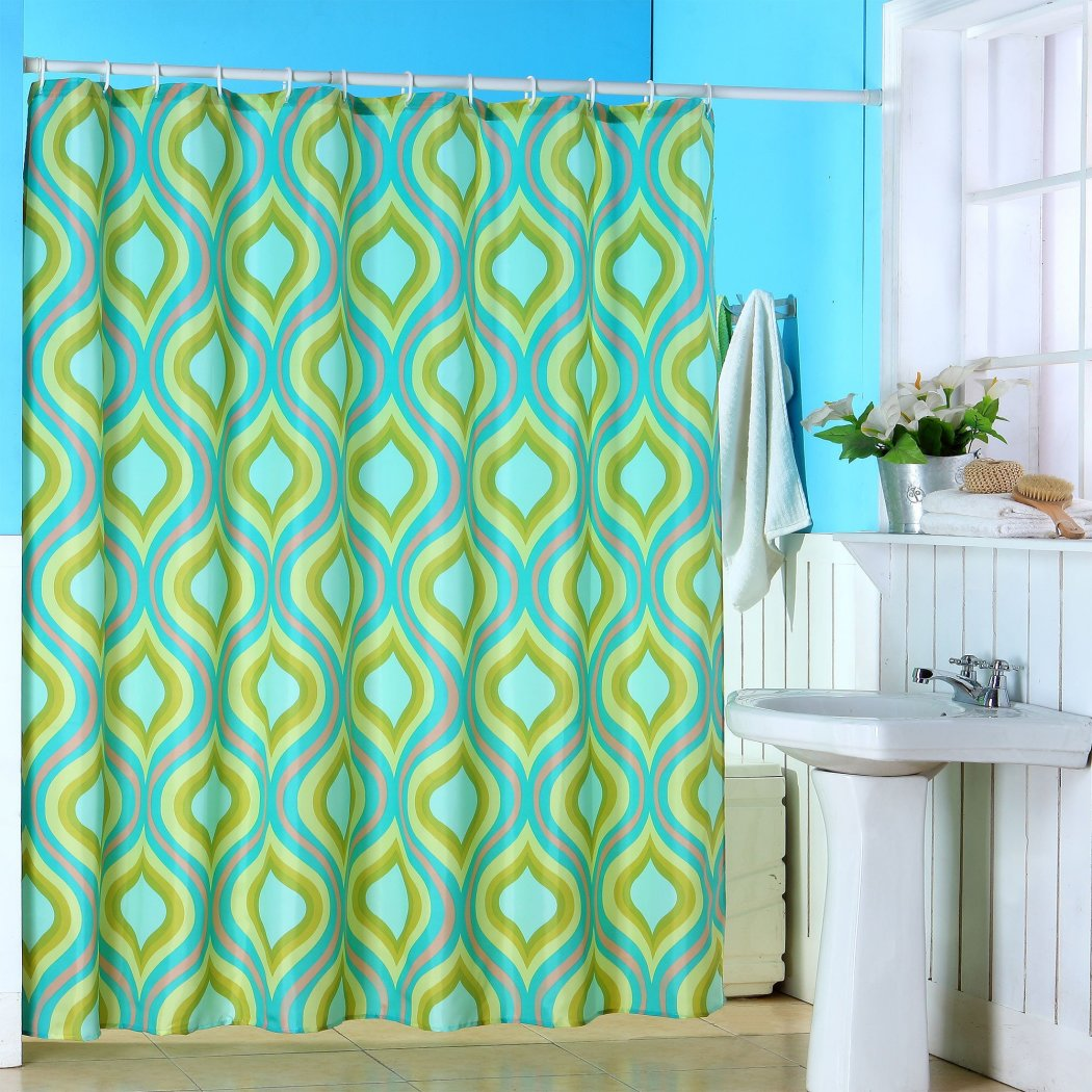 Green Geometric Pattern Shower Curtain Polyester Abstract Graphical Themed Detailed Colorful Leaf Printed Modern Elegant Design Artistic View All - Diamond Home USA
