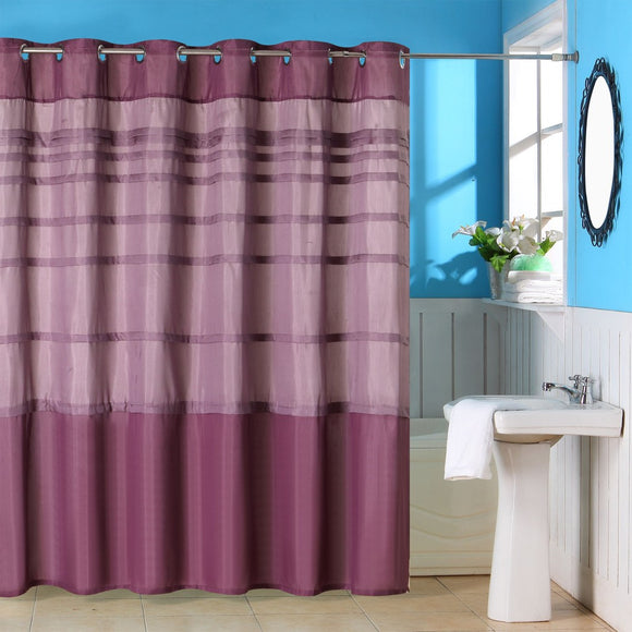 Purple Horizontal Stripes Printed Shower Curtain Polyester Abstract Graphical Geometric Pattern Detailed Colorful Textures Printed Modern Elegant - Diamond Home USA