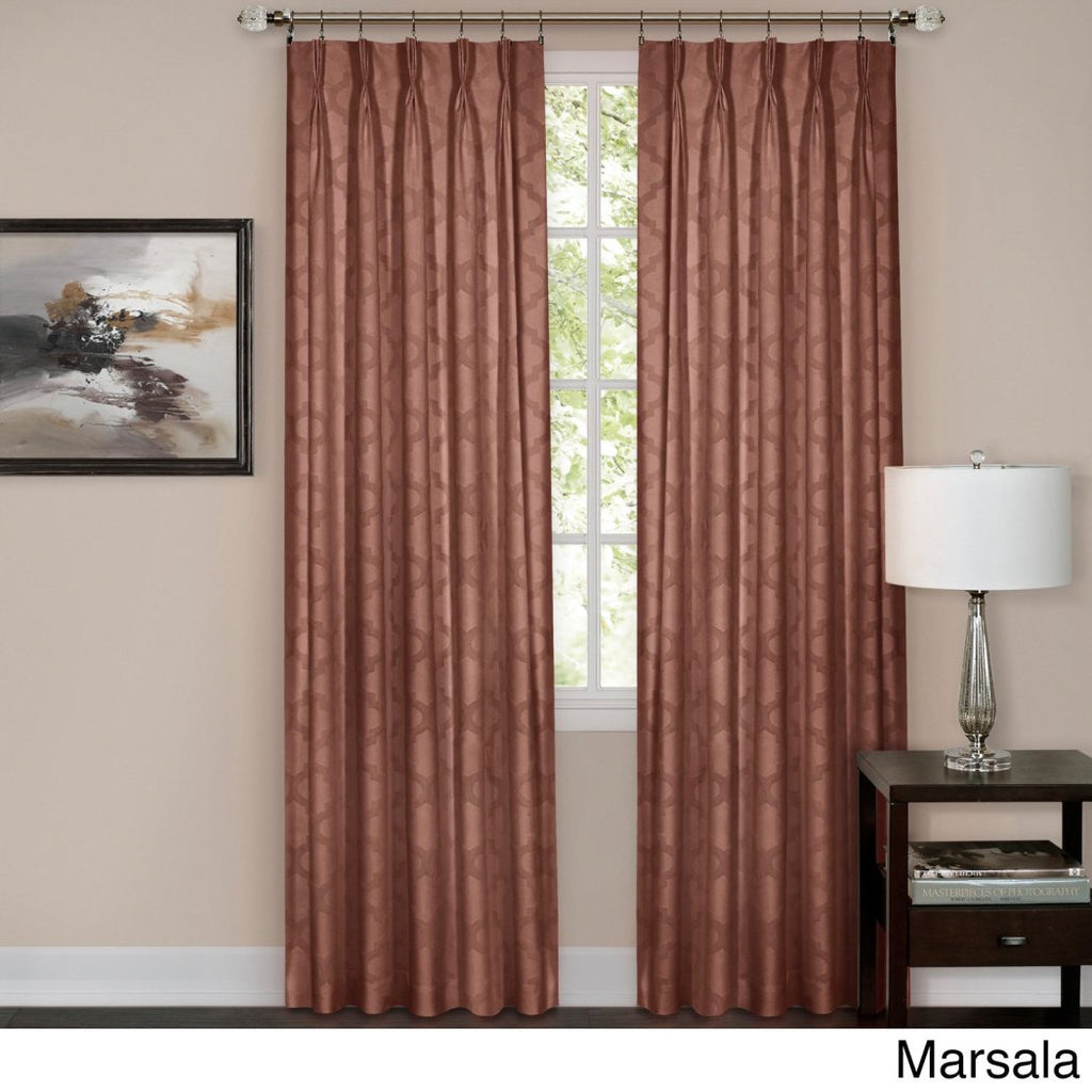 Pinch Pleat Curtain Single Panel Brown Beige Puckered Pintucks Window Pinch Pleated Drapes Tufted Texture Pattern Solid Color