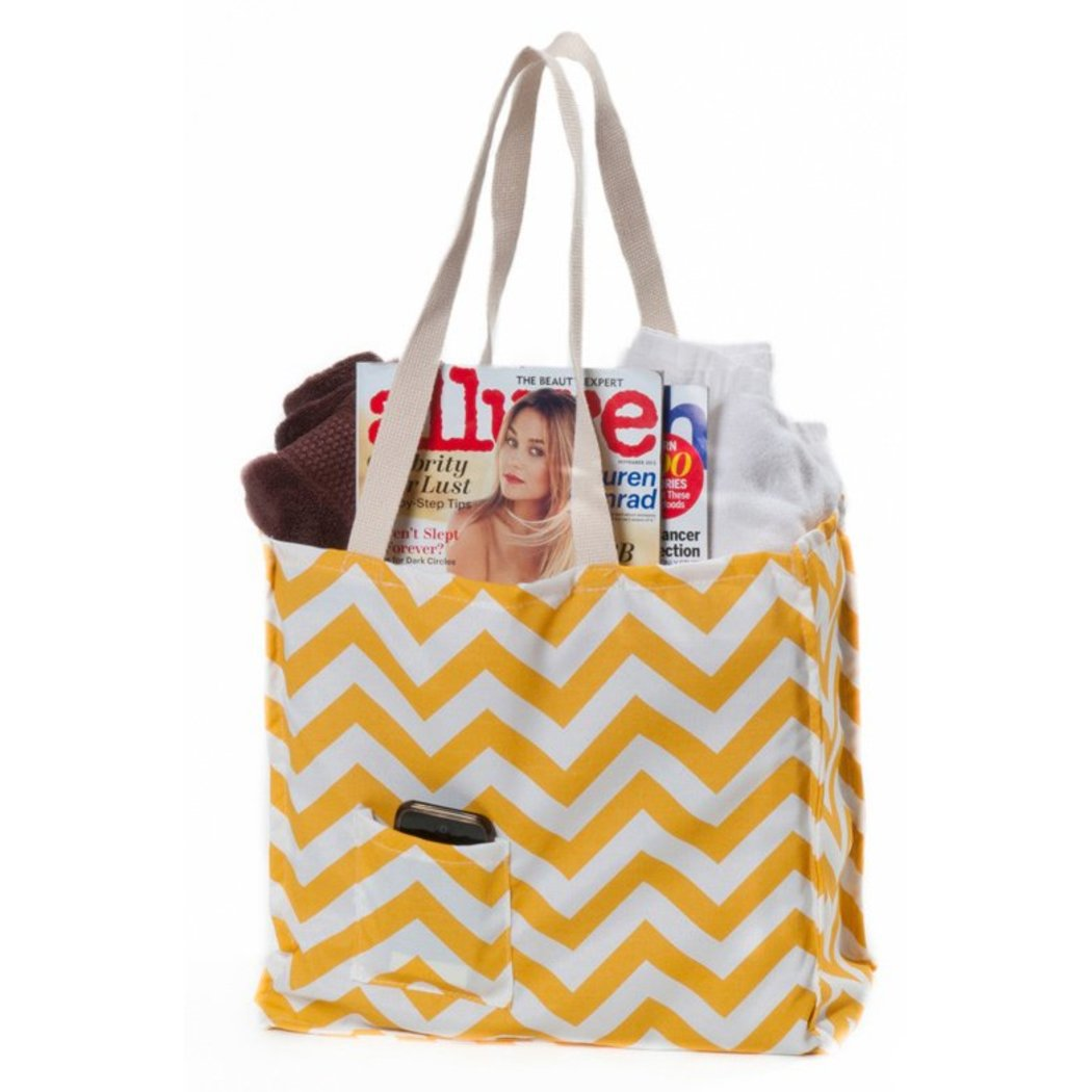 Chevron Weatherproof Tote Bag Dual Top Handles Polyester