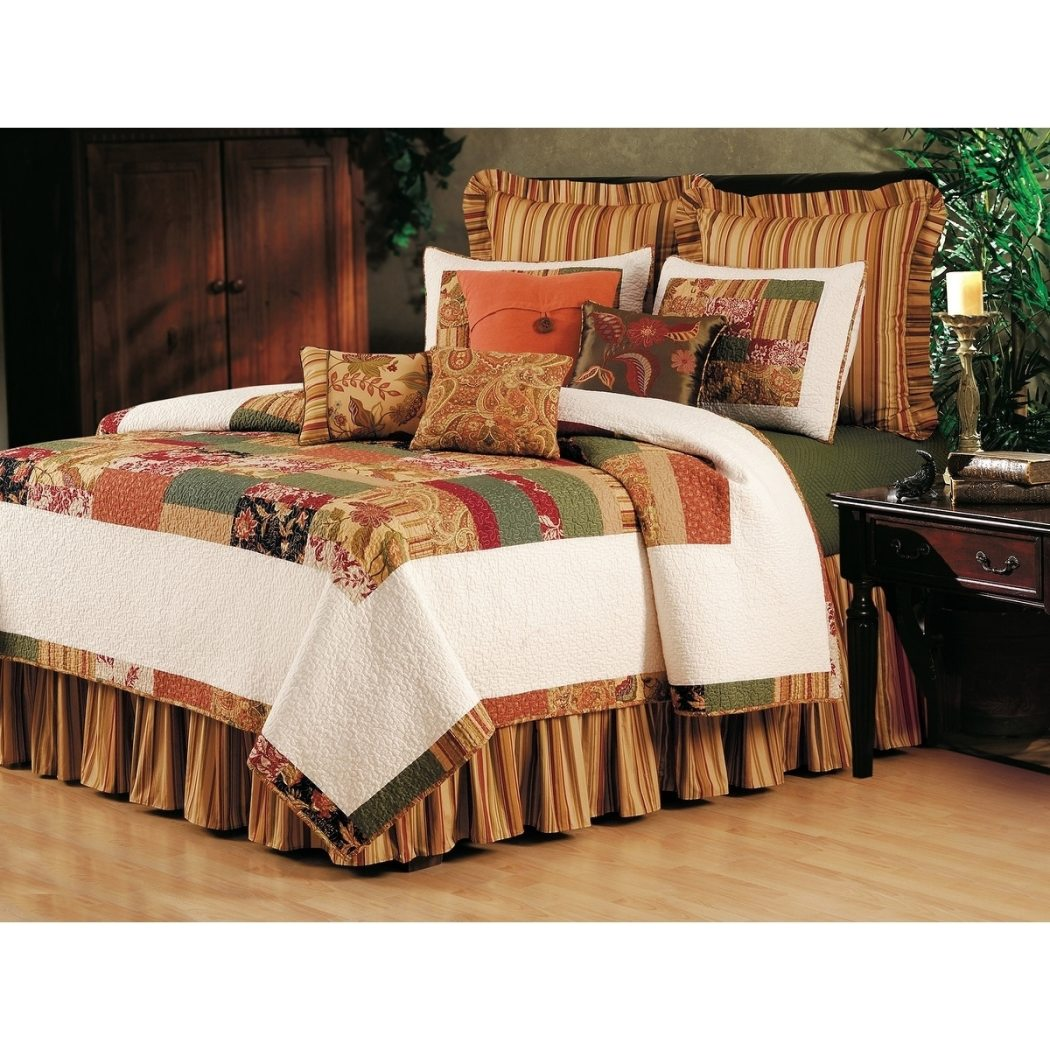Paisley Stripe Floral Quilt Set Mossy Border Patchwork French Country Adult Bedding Master Bedroom