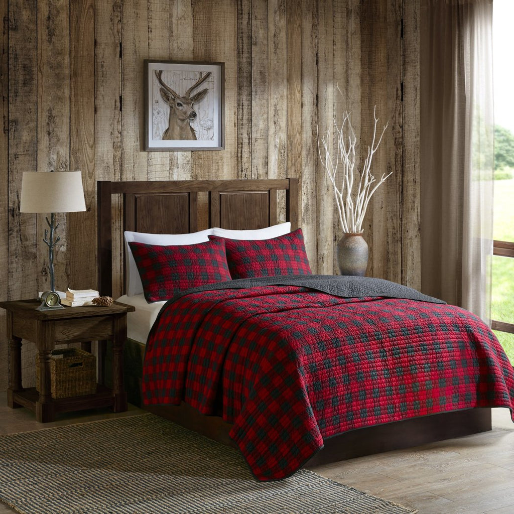 Plaid Quilt Set/Cal Patchwork Cabin Lodge Cottage Theme Bedding Tartan Madras Squared Checkered Patterns Checked Pattern Square